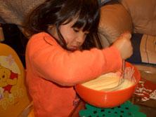 くーちゃんホットケーキを作る!